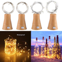 4pcs LED Solar Wine Stopper Sliver Copper Wire Lights 2M 20leds Garland String Lamp Waterproof Outdoor Garden Christmas Light