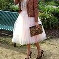 Nova Chegada Elegante Das Senhoras Elástico Na Cintura Plissada Tulle Saia Adulto saia tutu Mulheres saia de Chiffon com uma cintura alta BSQ002c