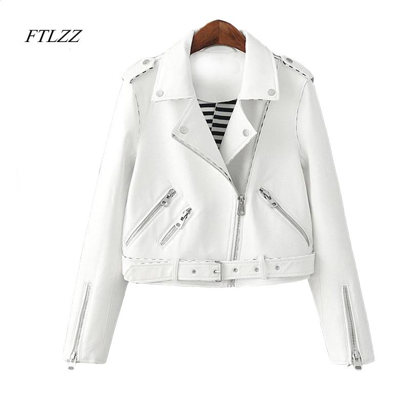 Ftlzz Women Zipper Faux Leather Jacket Autumn Pink White Moto Jacket Biker Jacket Slim White Pu Coat oblique zipper faux leather biker jacket