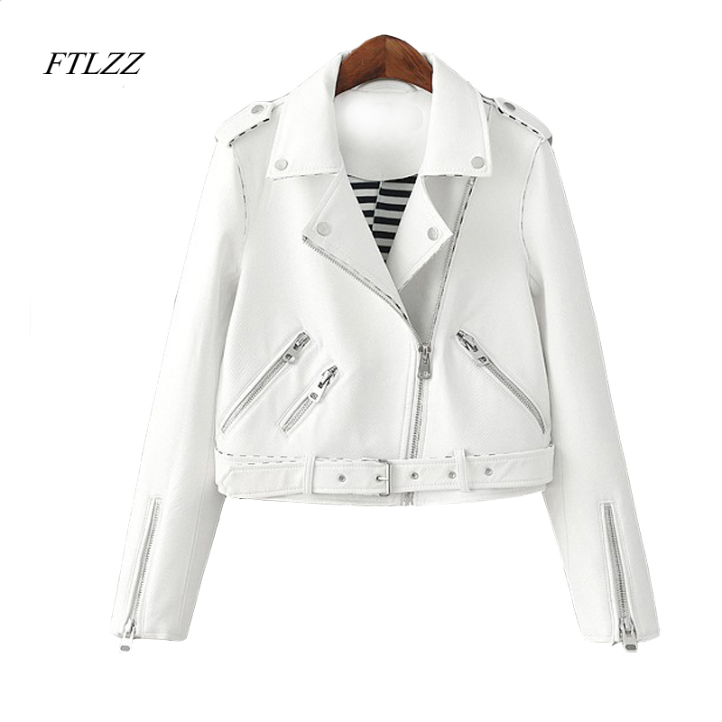 Ftlzz Women Zipper Faux   Leather   Jacket Autumn Pink White Moto Jacket Biker Jacket Slim White Pu Coat