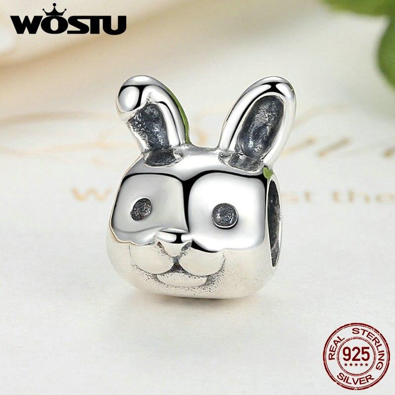̿̿̿(•̪ )Alta calidad 100% plata esterlina 925 conejo notable encanto ...