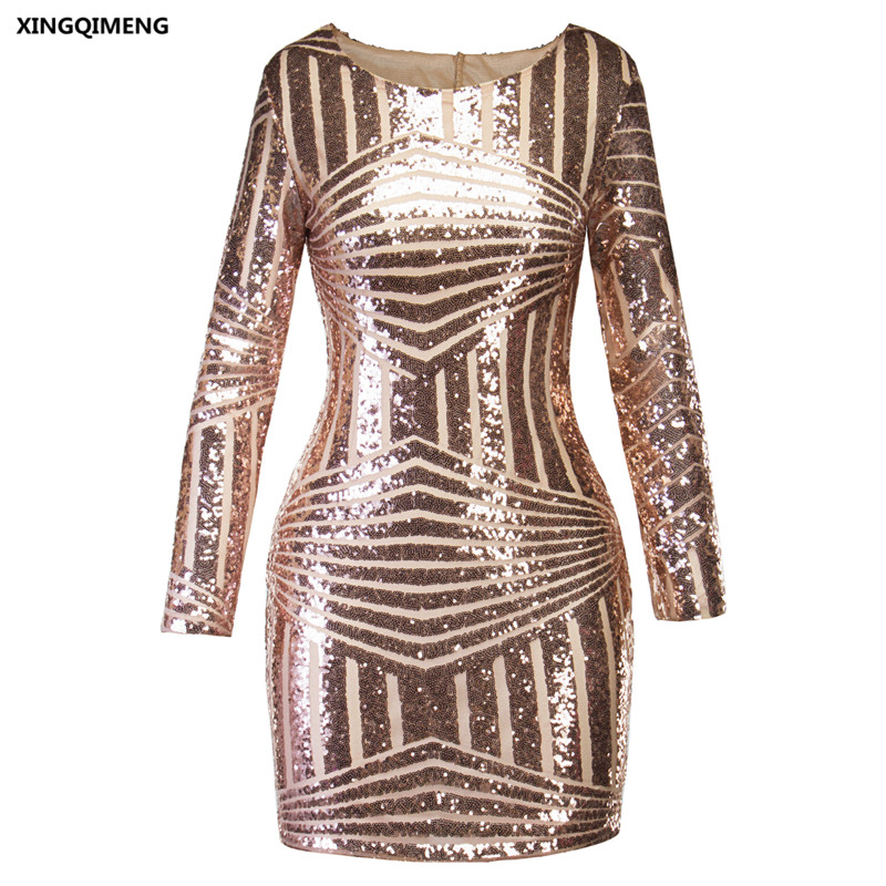 7f365b5239fb In Stock Sexy Backless Cocktail Dresses Elegant Short Homecoming Dress Gold  Sequins Cheap Simple Formal Dress with Long Sleeve