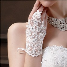2018 Cheap  Size ivory Fingerless Rhinestone Lace Sequins Short Bridal Wedding Gloves Accessories