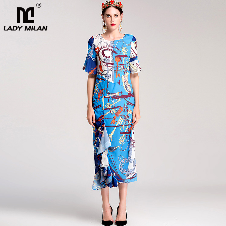 New Arrival Womens O Neck Short Sleeves Printed Ruffles Casual Designer Mid Calf Dresses