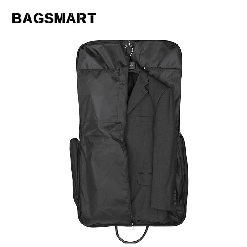 BAGSMART 고품질 정장 가방 검정색 접이식 복장 남성용 여행용 가방 지퍼가 달린 포켓 휴대용 저장 봉투