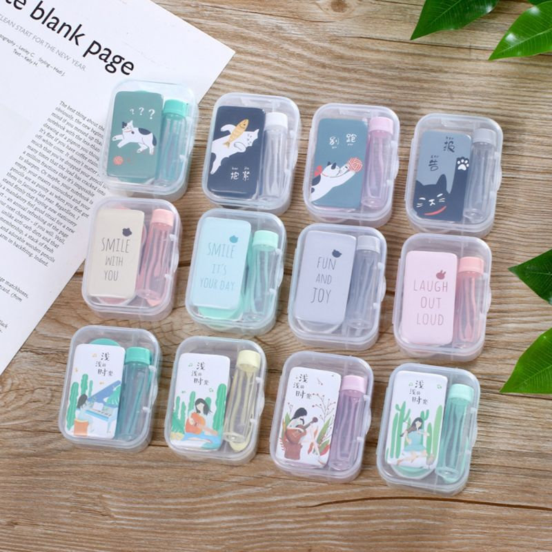 New 1 Set Unisex Contact Lens Box Mirror Cartoon Cute Fashion Creative Case Storage Student Eyes Care Container Kit Square