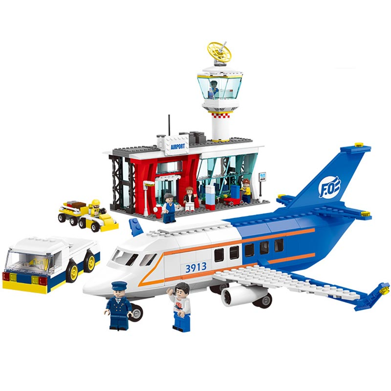 864pcs City Serise Airport Passenger City Terminal Car Building Blocks Sets Bricks Children Toys Gift