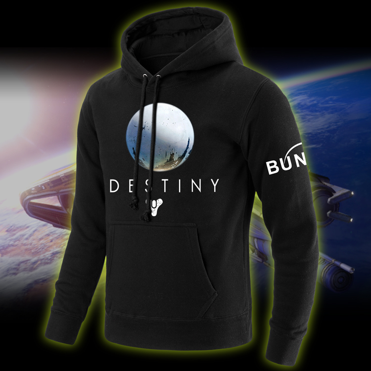 Game Destiny Hoodies Printing Pattern Black Cotton Mens Casual Hooded Pullover Sweatshirts Coats