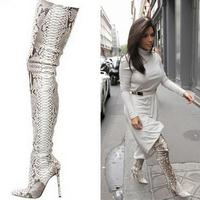 Luxury Brand Python Pattern Leather Pointed Toe Thigh High Boots Kim Women Snakeskin Over Knee Long