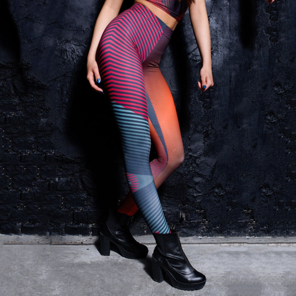 Red & Blue Striped Stitching Gradient Print Punk Stretchy Trousers Casual Pants Womens Novelty Fitness Leggings Colorfully