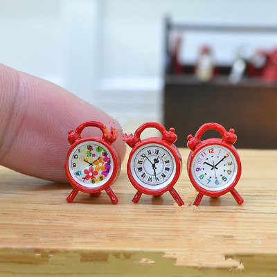 1:12 Scale Alarm Clock Mini Home Decoration Dollhouse Miniature Toy Doll Kitchen Living Room Accessories 6 Colors