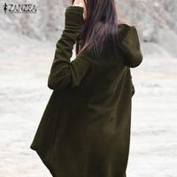 ZANZEA Long Sleeve Pullover Hooded Ladies Autumn Solid Asymmetric Hem Mid Calf Dress Leisure Casual Oversized
