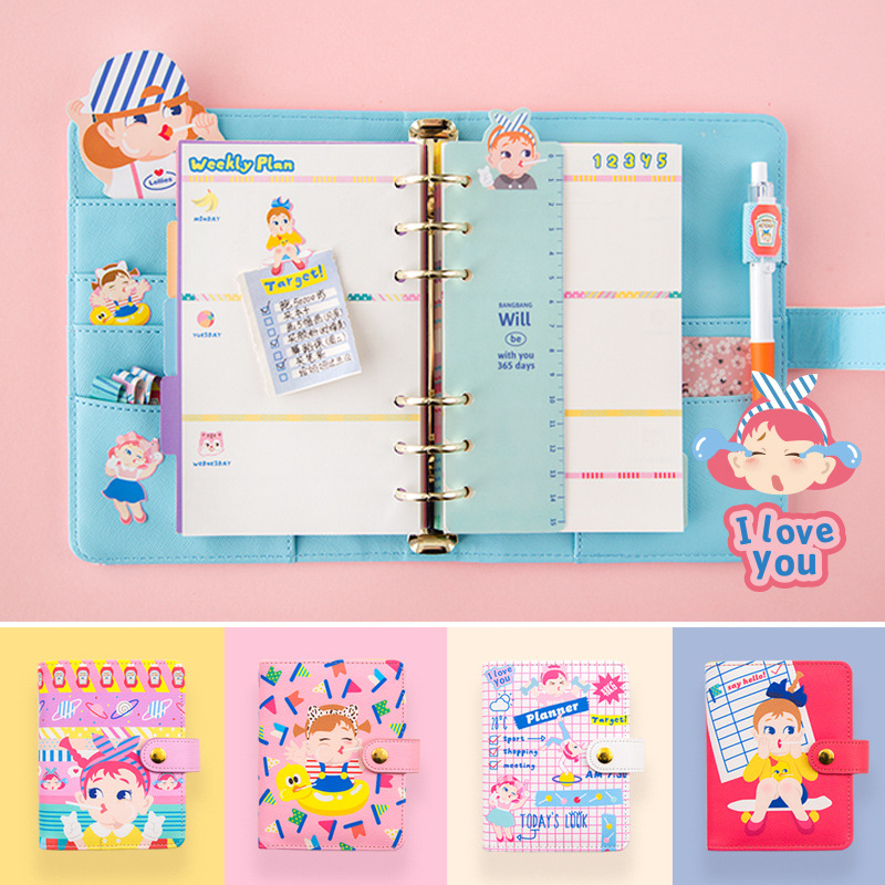 A6 A7 Notebook 2018/2019 Agenda Planner Organizer Dividers PU Leather Spiral Weekly Personal Travel Diary Journal Cute Note Book creative art fashion a6 journal planner book weekly monthly daily page blank paper pu leather diary notebook gift free shipping