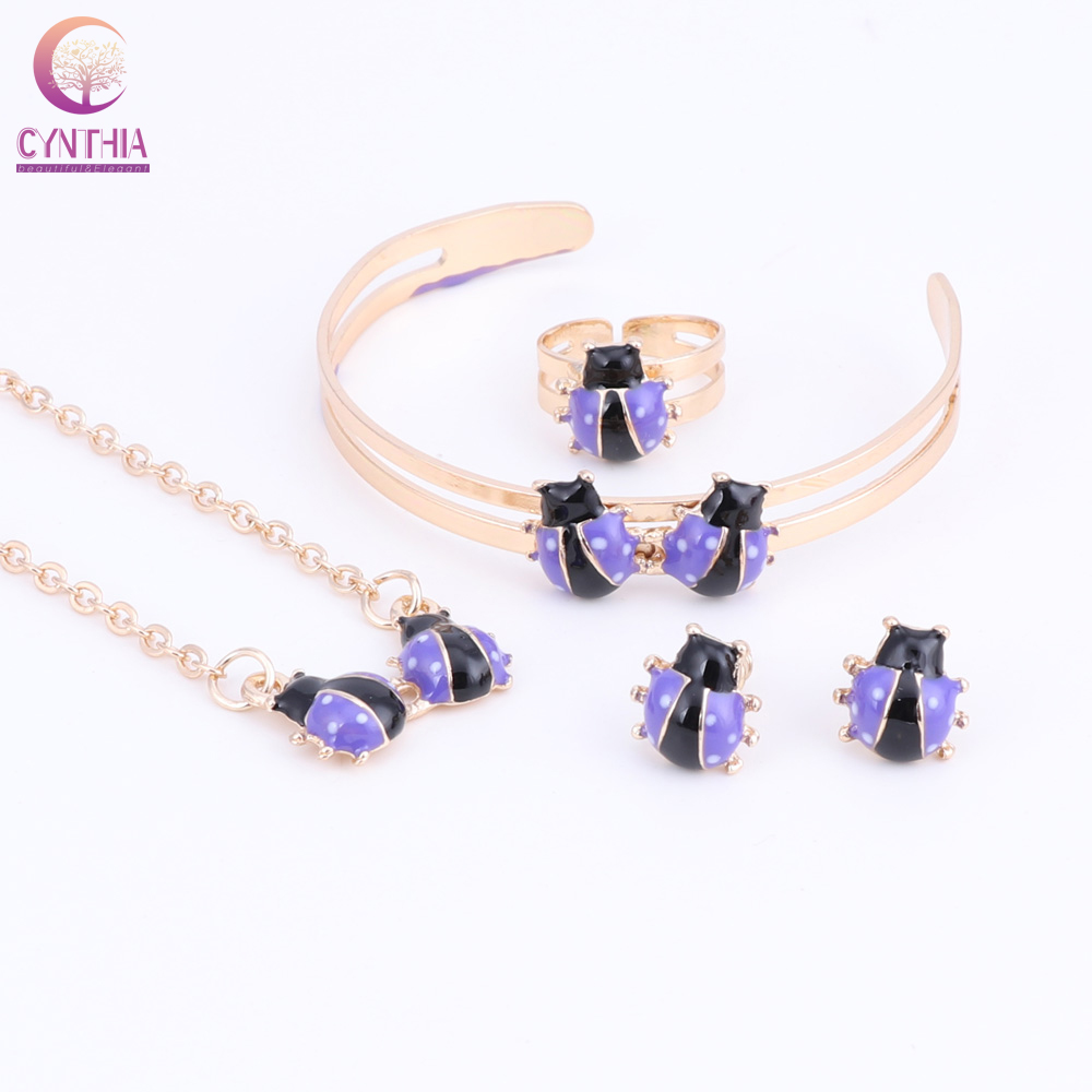 Cute Ladybug Baby and Kids Jewelry Sets Gold Color Children Dubai Jewelry Set Necklace Bracelet Earrings Ring Jewellery