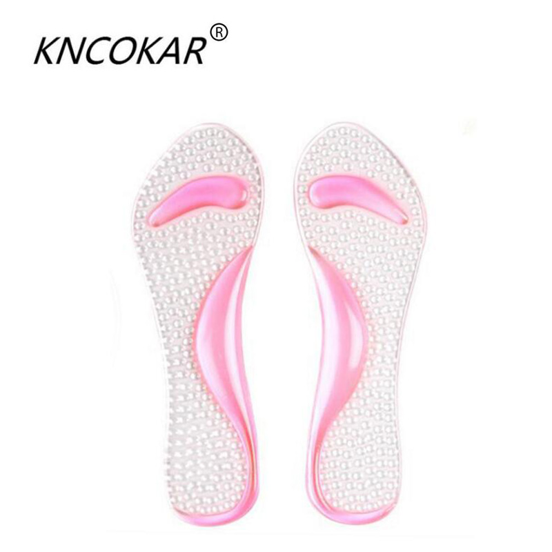 KNCOKAR Non-Slip Women Gel 3/4 length Arch Support Anti-slip Massaging Metatarsal Cushion Orthopedic Insoles for High Heels Shoe soumit 5 colors professional yoga socks insoles ballet non slip five finger toe sport pilates massaging socks insole for women