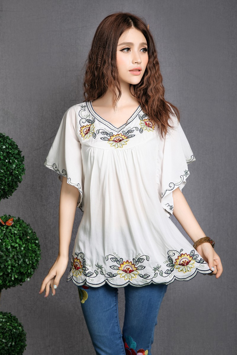 2019 Hot Sale vintage 70s mexican Ethnic Floral EMBROIDERED BOHO Hippie blouses / shirt Women Clothing Tops Tunic Free Shipping Рубашка