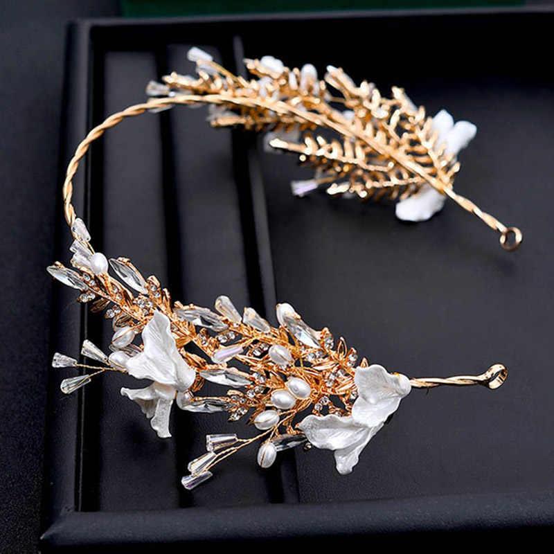 الكورية أوراق الذهب هيرباند الزفاف إكسسوارات الشعر العرائس يترك قذيفة الشعر مجوهرات الزفاف الشعر الحلي للنساء تاج تيارا
