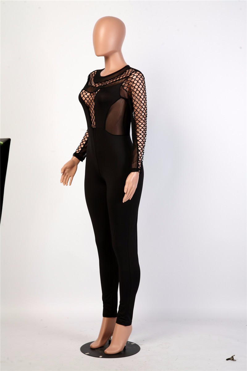 women sexy hollow out mesh jumpsuit -8