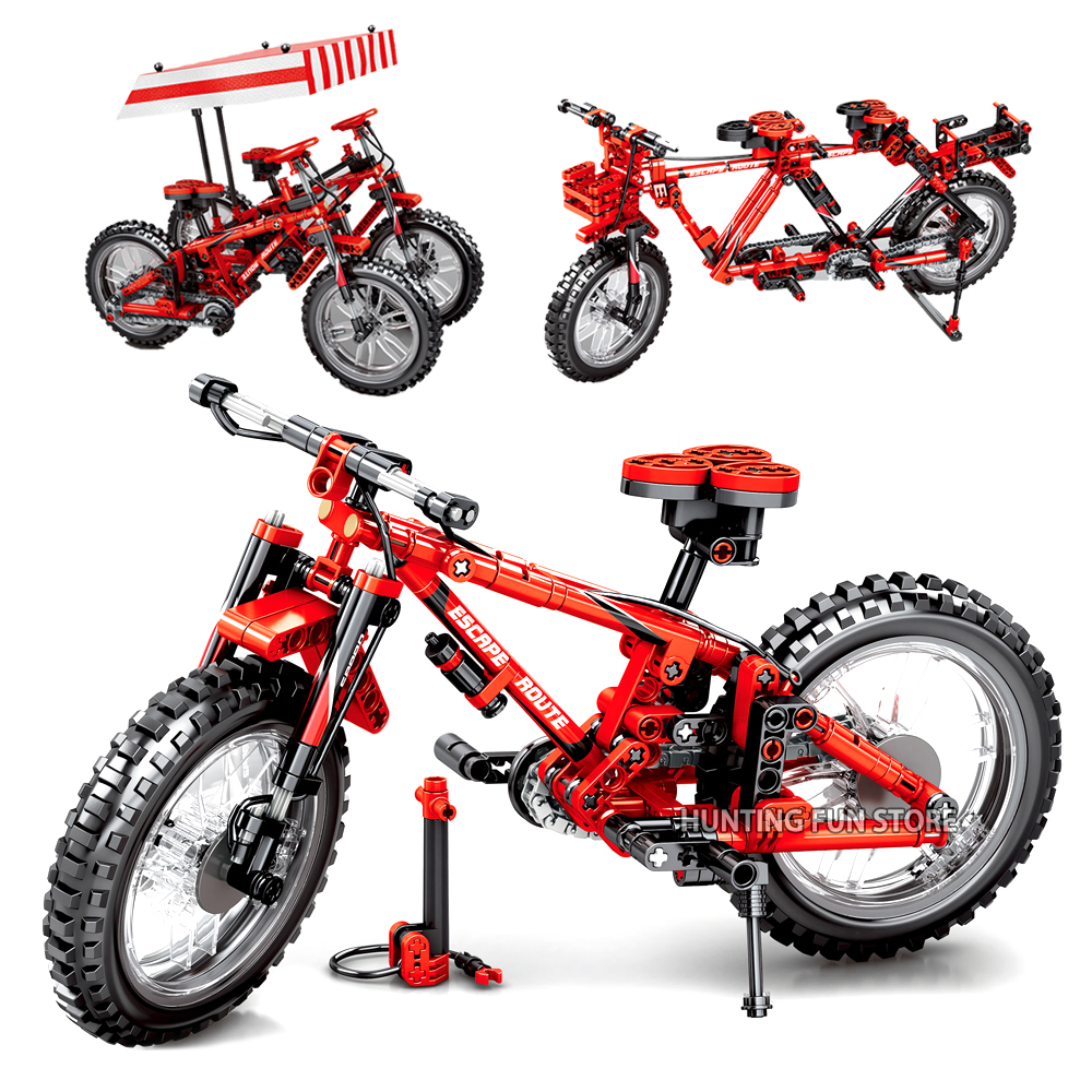 Fit Technic Creator Series Folding Bicycles 2into1 Set Bike Transformable Blocks Building Toys For Children Boys Birthday Gifts