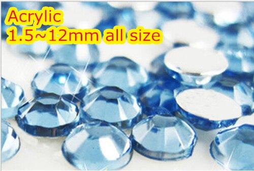 Lt.Aquamarine Color 1.5~12mm Flat Back Round Acrylic Beads / Stones ,Acrylic Resin 3D Nail Art / Garment Decoration