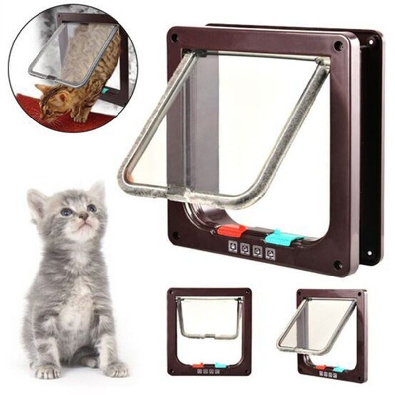Pet Puppy Dog Cat Felis Animals Doghole Dog-tunnel Flap Entry Frame Safe Gate Door Cathole 4 Way Pet Dog Cat Gate