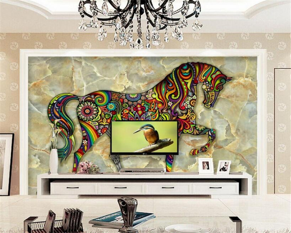 Beibehang 3d Wallpaper Aesthetic Colorful Horse Marble Tv