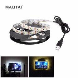 5 فولت USB الطاقة LED قطاع ضوء RGB 2835 3528 SMD HDTV التلفزيون سطح المكتب PC شاشة الخلفية و التحيز الإضاءة 1 متر 2 متر 3 متر 4 متر 5 متر لا للماء