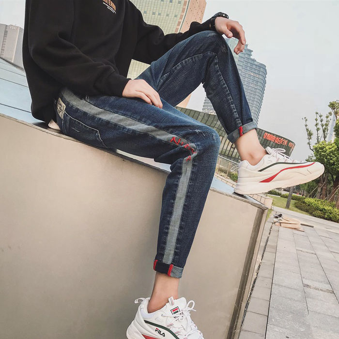 Spring And Summer Jeans Men's Korean Nine-minute Pants Boys Elastic Slim Pants Fashion Boys'Pants Skinny Jeans For Mens