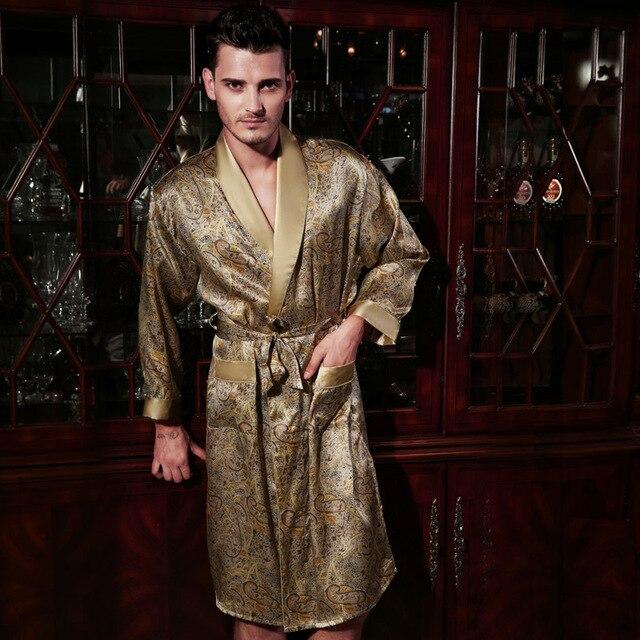 Free Shipping Silk Satin Male Long-Sleeve Kimono Sleepwear 100% Silk High Quality Sexy Men Printed Bathing Robe Dressing Gown