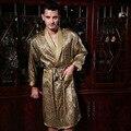 O Envio gratuito de Cetim De Seda Masculino Longo-Luva Kimono Sleepwear 100% de Seda de Alta Qualidade Sexy Men Impresso Robe de Banho Vestir vestido