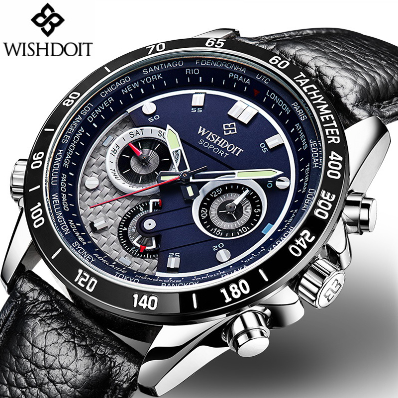 relogio masculino New WISHDOIT Mens Watches Top Brand Luxury Leather Strap Quartz Watch Men Military Sport Waterproof Wristwatch weide japan quartz watch men luxury brand leather strap stainless steel buckle waterproof new relogio masculino sport wristwatch