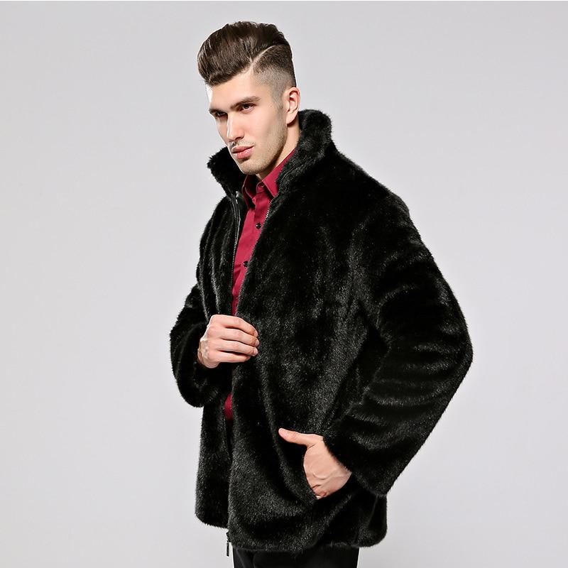 HONGZUO 2017 Neue Ankunft Mode Männer Pelzmantel Mit Kapuze Luxus - Herrenbekleidung - Foto 4