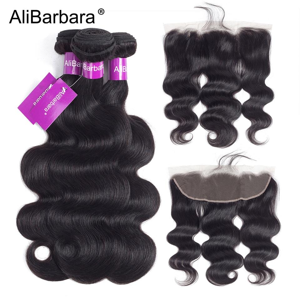AliBarbara Body Wave Hair Bundles With Frontal Peruvian Hair Weave Bundles With Closure Remy Human Hair
