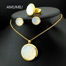 AMUMIU Boda Sistemas de la Joyería de Cristal de Las Mujeres Joyas de Acero Inoxidable 316L Collar/Pendientes/Anillo Establece Alta Calidad KTZ018