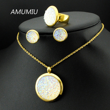 AMUMIU Wedding Jewelry Sets Crystal Women's Jewellry 316L Stainless Steel Necklace/Earrings/Ring Sets High Quality KTZ018