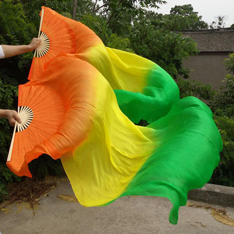 NEW 1pair  (L+R) 100% Pure Real Silk Fan Veils For Bellydanceing Sexy Stage Performance Props Fans 1.8x0.9M
