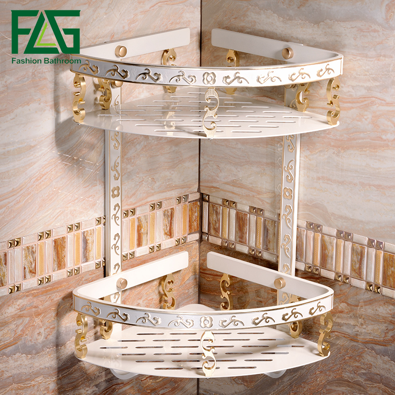 FLG Bathroom Shelf Space Aluminum White Double Layer bathroom Corner Shelves Bathroom Holder Basket Bathroom Acessories auswind 2 layer silver corner basket bathroom products luxury cosmetic storage bathroom shelf holder bathroom accessorie pf10