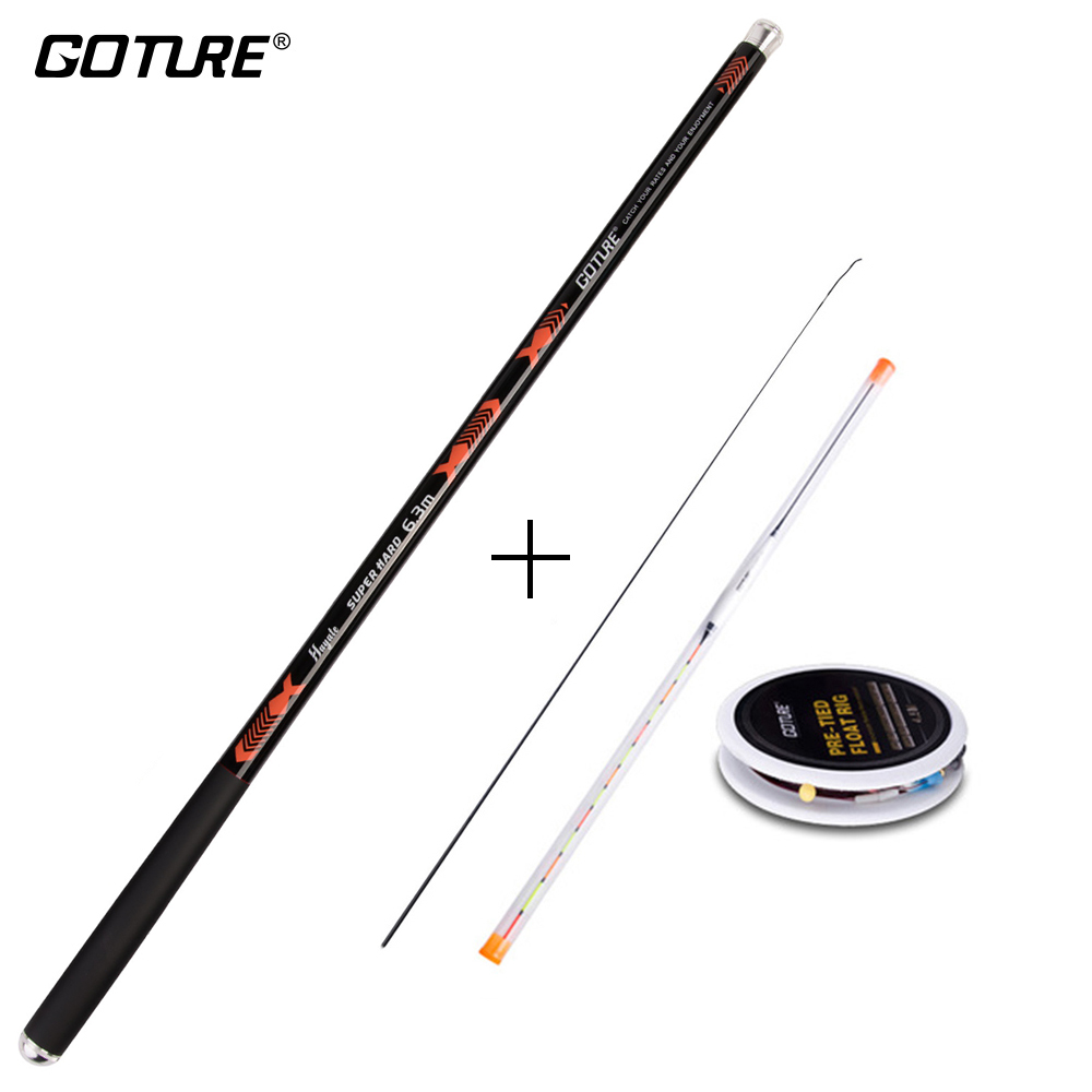 Goture Hayate A+ 2:8 Hard Stream Fishing Rod Hand Pole 3.6M 4.5M 5.4M 6.3M 7.2M and Fishing Float Line Rig Set Carp Fishing Kit