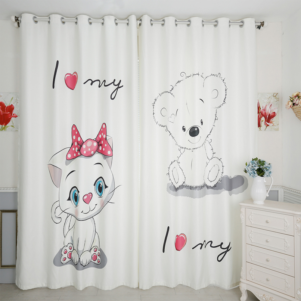 Personal Tailor 2x Grommet Window Drapery Curtain Nursery Kids Children Room Window Dressing Tulle 200x260cm Cat Bear White
