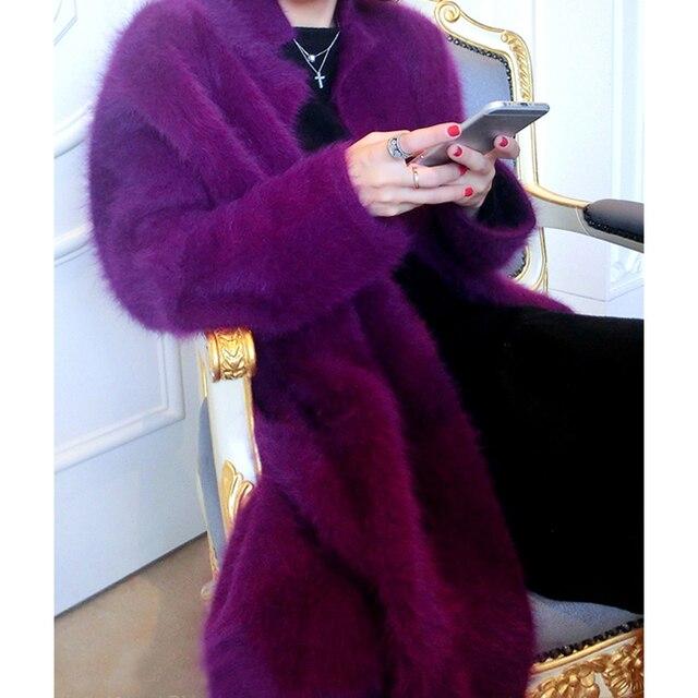 НОВЫЙ трикотажные длинный свитер пальто женщин толщиной пятно свободные Плюшевые норки кашемира кардиган пальто в осенне-зимний Free доставка