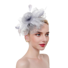 Women Party Headwear Prom Shiny Hair Clip Ladys Fascinator Hat Feathered Flower Accessories Elegant Barrettes