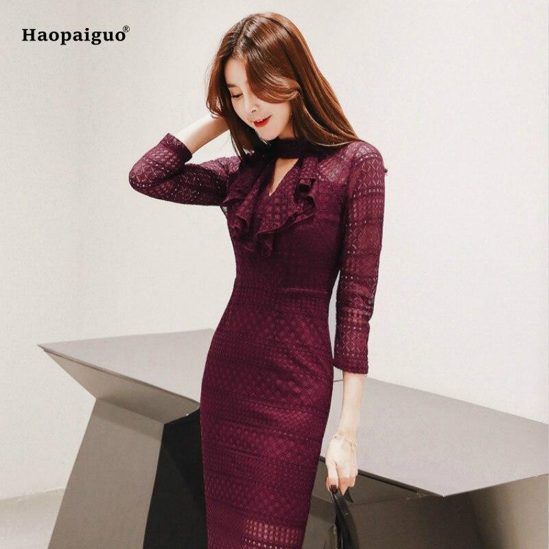Robe crayon grande taille été femmes rouge trois quarts manches Stand dentelle élégant bureau dames robe Vintage coréen Club robes