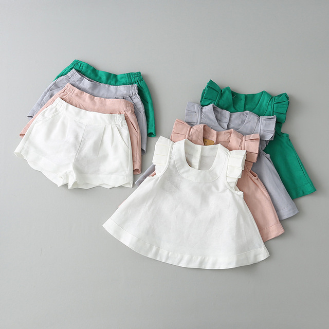 Childen Baby Girls Clothes Cotton Lovely Fly Sleeve Vest Shorts 2