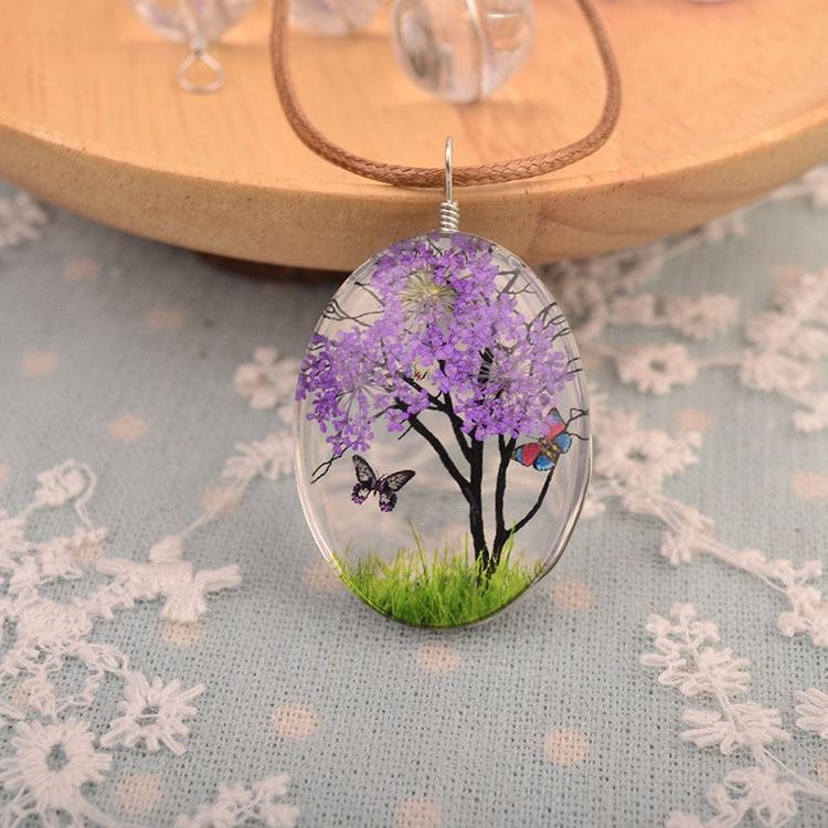 dried flower necklace pendant