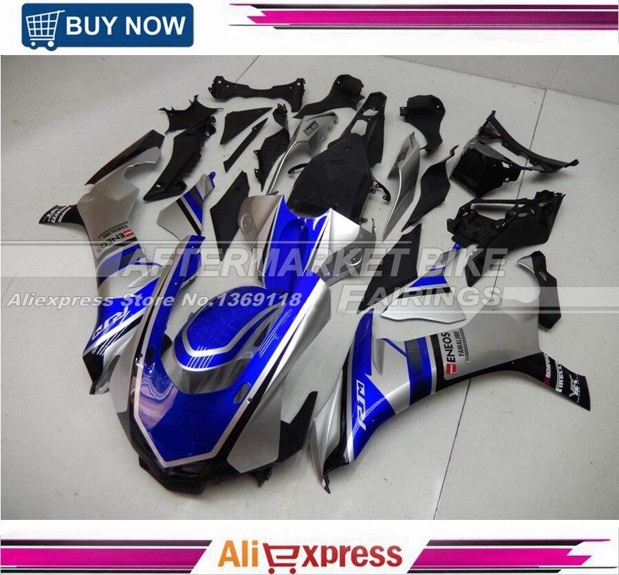 Personnalisé MotoGP Plastique ABS Carénage Kit Pour Yamaha YZF R1 2015 2016 Bleu Et Gris Carrosserie