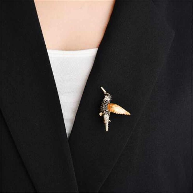 Wkoud Berlian Imitasi Hewan Bros UNTUK WANITA HITAM Kristal Burung Hummingbird Besar Vintage Bros Pin untuk Pria Jas Gadis Hadiah