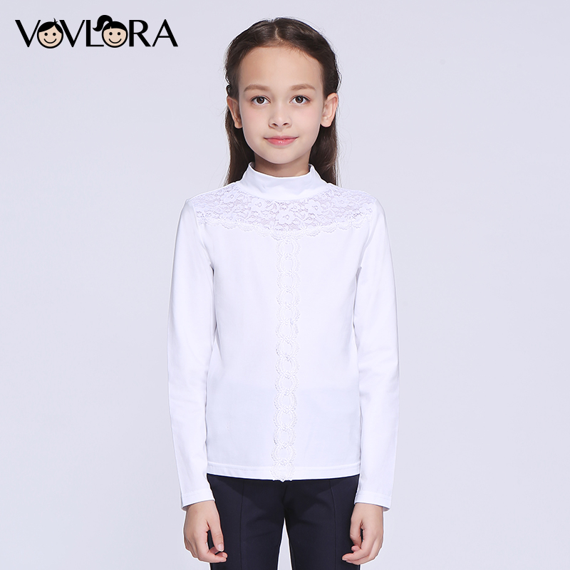 Girls T shirt White Lace Turtleneck Cotton Kids School T shirts Girl 2017 Winter Children Clothing Size 9 10 11 12 13 14 Years