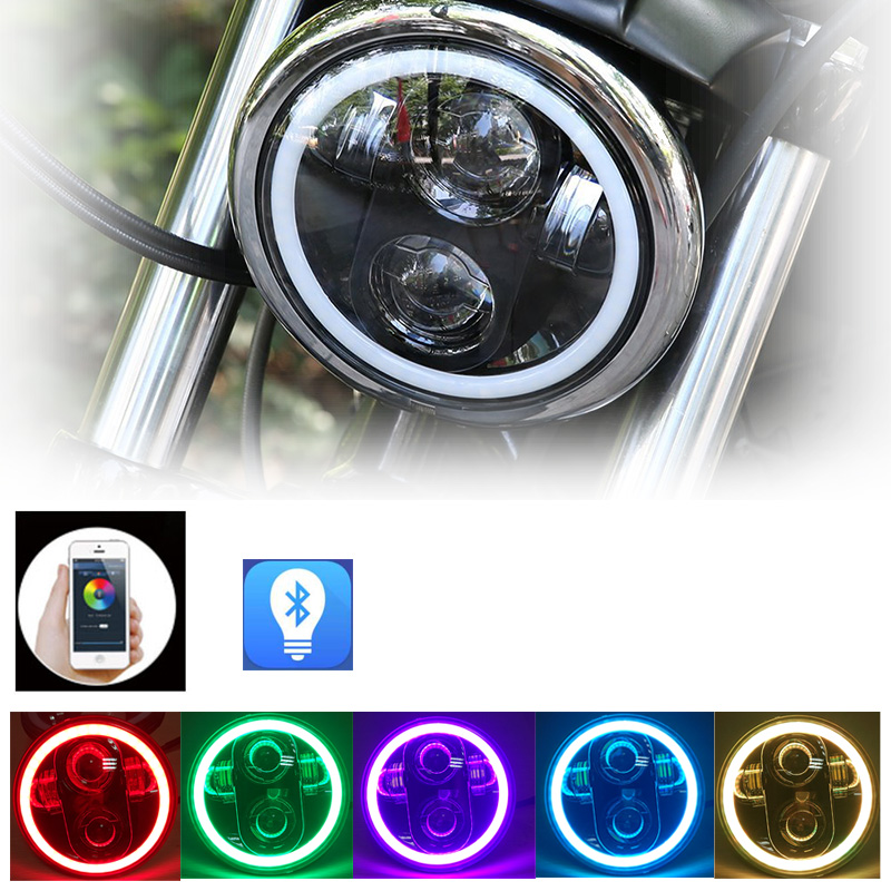 5-3/4 5.75 inch Motorcycle Daymaker LED Projector Halo Headlight for Harley Davidson Spotlight Driving Light Iron 883 Headlamp 5 75 led motorcycle headlight high low beam motor led headlamp driving light for harley davidson projector daymaker headlights
