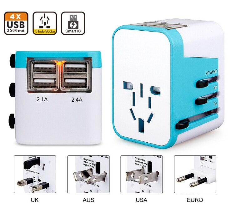 Iseebiz Universal travel Adapter 4 Usb-anschluss Alles in Einem Elektrische Stecker Adapter Au/US/UK/EU mit Tasche Usb-ladesteckdose