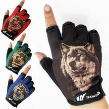 2019 New Mens Semi-finger Wolf Pattern Tactical Gloves Half Finger Slip-resistant Driving luvas de inverno